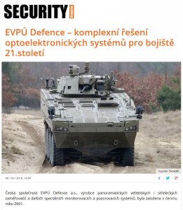 Read about us: SECURITY magazin - EVPU Defence - a complete solution of optoelectronic systems for the 21st century battlefield