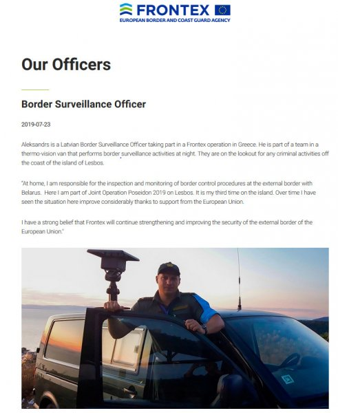 Frontex officers with VW Transporter surveillance van